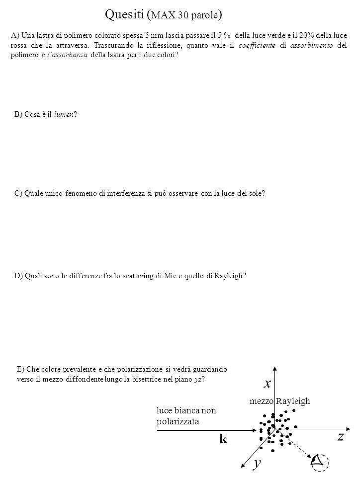 Soluzioni 3) dalla legge dell interferenza a incidenza quasi normale su lamine sottili: si ottiene: Da cui, il minimo valore comune è: 2) dalla teoria della diffrazione, per il minimo di una delle figure di diffrazione deve essere: D x S S' 1) Con la sorgente in S' la differenza di cammino geometrico fra i raggi che arrivano alle due fenditure sarà: Per avere un minimo in O dovrà essere: