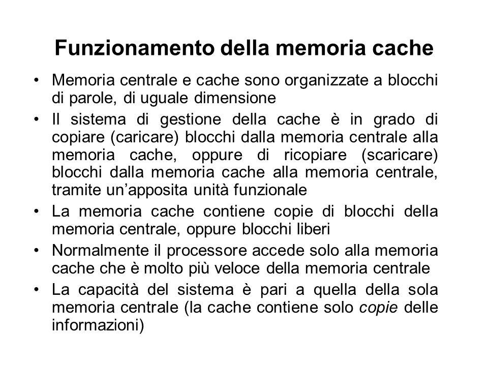 Funzionamento della memoria cache Memoria centrale e cache sono organizzate a blocchi di parole, di uguale dimensione Il sistema di gestione della cac