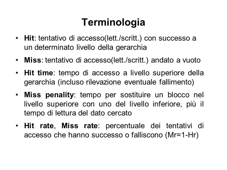 Terminologia Hit: tentativo di accesso(lett./scritt.) con successo a un determinato livello della gerarchia Miss: tentativo di accesso(lett./scritt.)