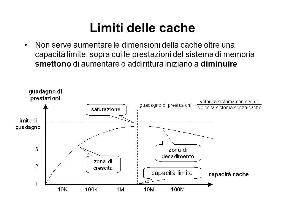 Prestazioni cache h hit rate, tipicamente > 90% C tempo per accedere alle informazioni in cache M penalità di fallimento –tempo addizionale per portare le info nella cache in caso di miss, la cpu è in stallo t medi tempo medio di accesso sperimentato dalla CPU t medio = h C + (1-h) M