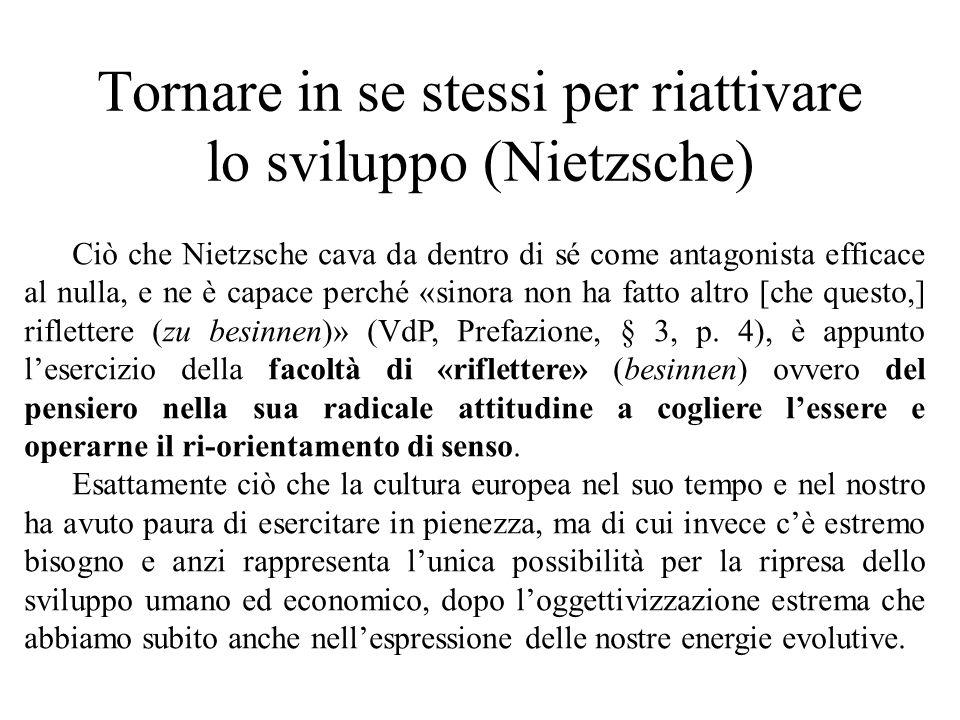 Tornare in se stessi per riattivare lo sviluppo (Nietzsche) Ciò che Nietzsche cava da dentro di sé come antagonista efficace al nulla, e ne è capace perché «sinora non ha fatto altro [che questo,] riflettere (zu besinnen)» (VdP, Prefazione, § 3, p.
