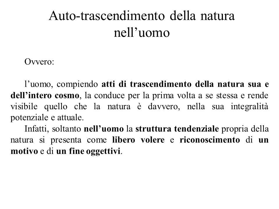 Auto-trascendimento della natura nell'uomo Ovvero: l'uomo, compiendo atti di trascendimento della natura sua e dell'intero cosmo, la conduce per la pr