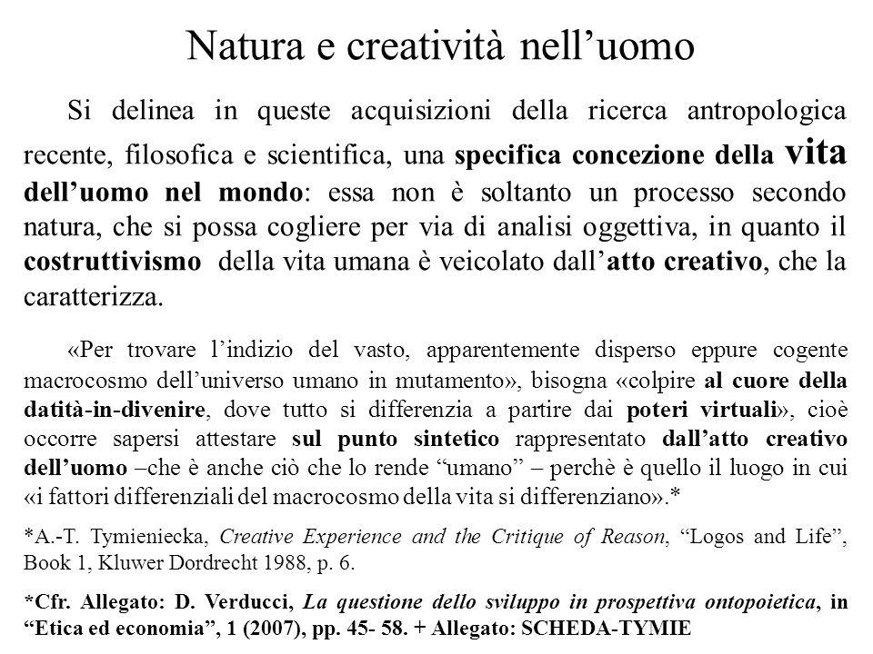 Natura e creatività nell'uomo Si delinea in queste acquisizioni della ricerca antropologica recente, filosofica e scientifica, una specifica concezion