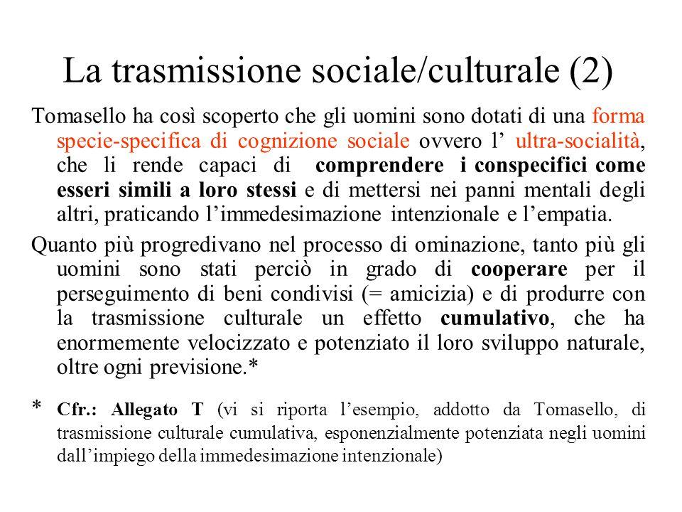 La trasmissione sociale/culturale (2) Tomasello ha così scoperto che gli uomini sono dotati di una forma specie-specifica di cognizione sociale ovvero l' ultra-socialità, che li rende capaci di comprendere i conspecifici come esseri simili a loro stessi e di mettersi nei panni mentali degli altri, praticando l'immedesimazione intenzionale e l'empatia.