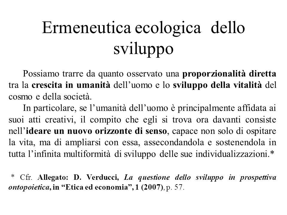 Ermeneutica ecologica dello sviluppo Possiamo trarre da quanto osservato una proporzionalità diretta tra la crescita in umanità dell'uomo e lo sviluppo della vitalità del cosmo e della società.