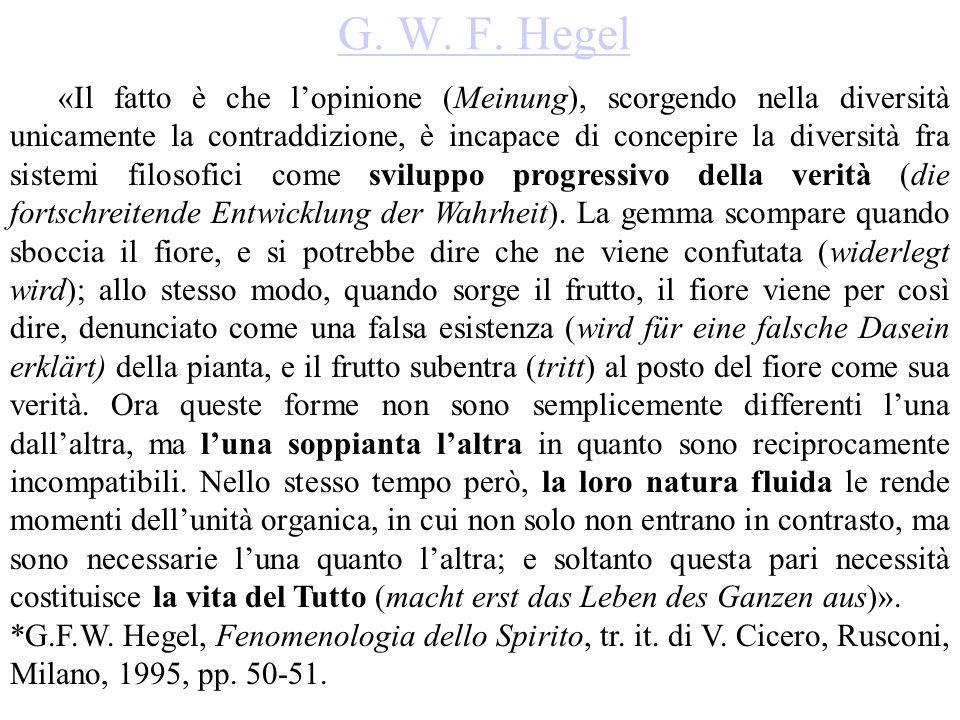 G. W. F. Hegel «Il fatto è che l'opinione (Meinung), scorgendo nella diversità unicamente la contraddizione, è incapace di concepire la diversità fra