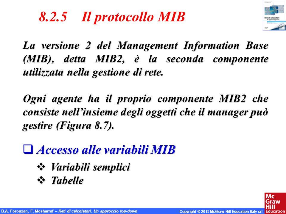 B.A. Forouzan, F. Mosharraf – Reti di calcolatori. Un approccio top-down Copyright © 2013 McGraw-Hill Education Italy srl 8.2.5 Il protocollo MIB La v