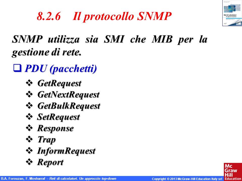 B.A. Forouzan, F. Mosharraf – Reti di calcolatori. Un approccio top-down Copyright © 2013 McGraw-Hill Education Italy srl 8.2.6 Il protocollo SNMP SNM