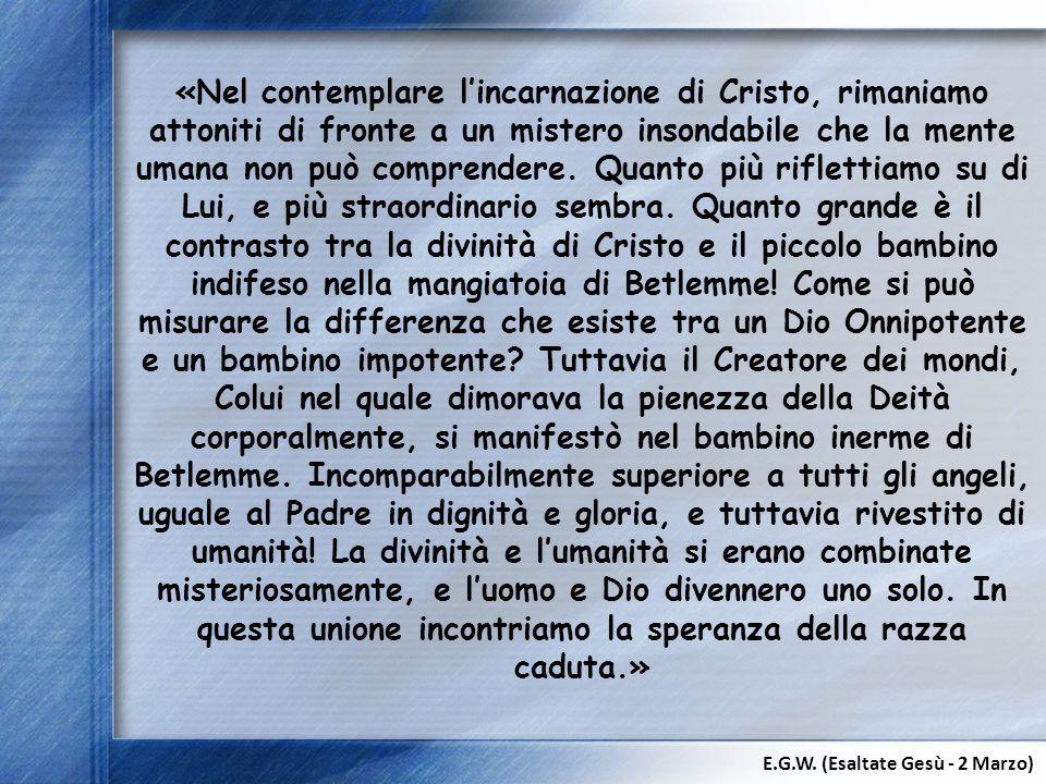 «Nel contemplare l'incarnazione di Cristo, rimaniamo attoniti di fronte a un mistero insondabile che la mente umana non può comprendere. Quanto più ri