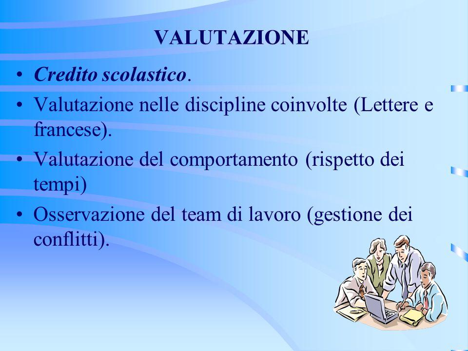 VALUTAZIONE Credito scolastico. Valutazione nelle discipline coinvolte (Lettere e francese).