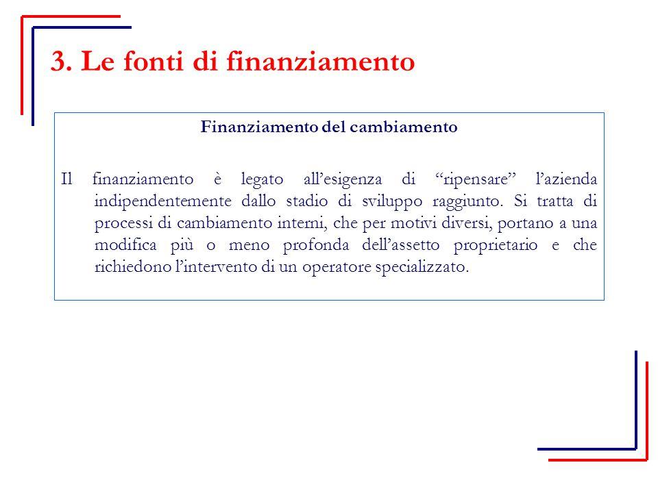 Finanziamento del cambiamento Il finanziamento è legato all'esigenza di ripensare l'azienda indipendentemente dallo stadio di sviluppo raggiunto.