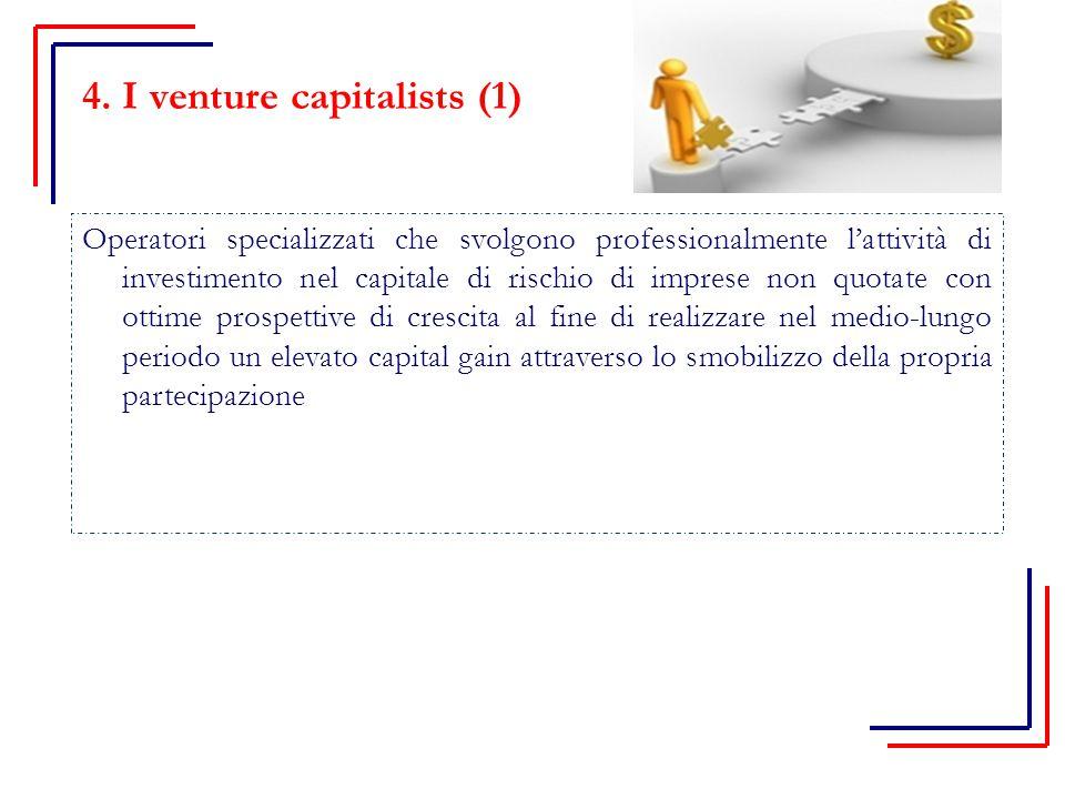 4. I venture capitalists (1) Operatori specializzati che svolgono professionalmente l'attività di investimento nel capitale di rischio di imprese non