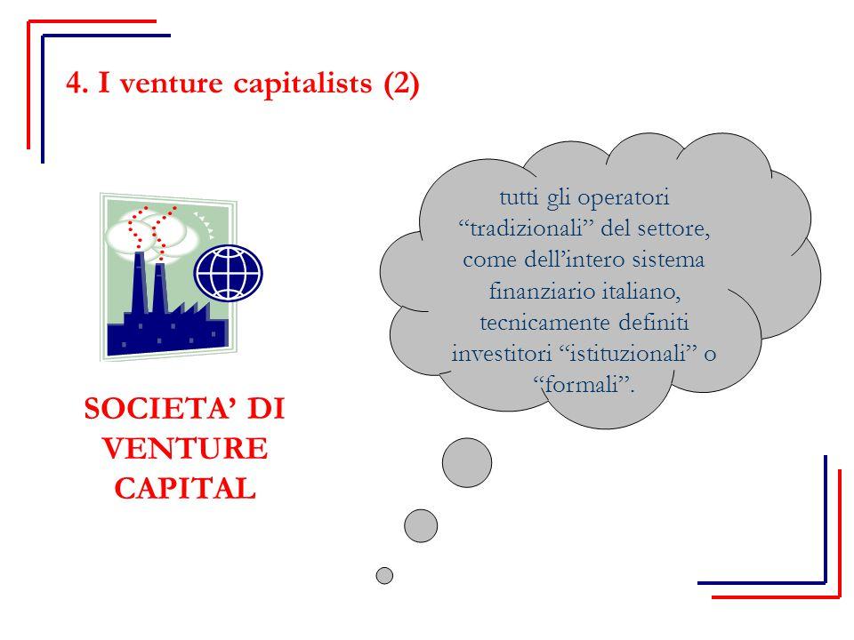 SOCIETA' DI VENTURE CAPITAL tutti gli operatori tradizionali del settore, come dell'intero sistema finanziario italiano, tecnicamente definiti investitori istituzionali o formali .