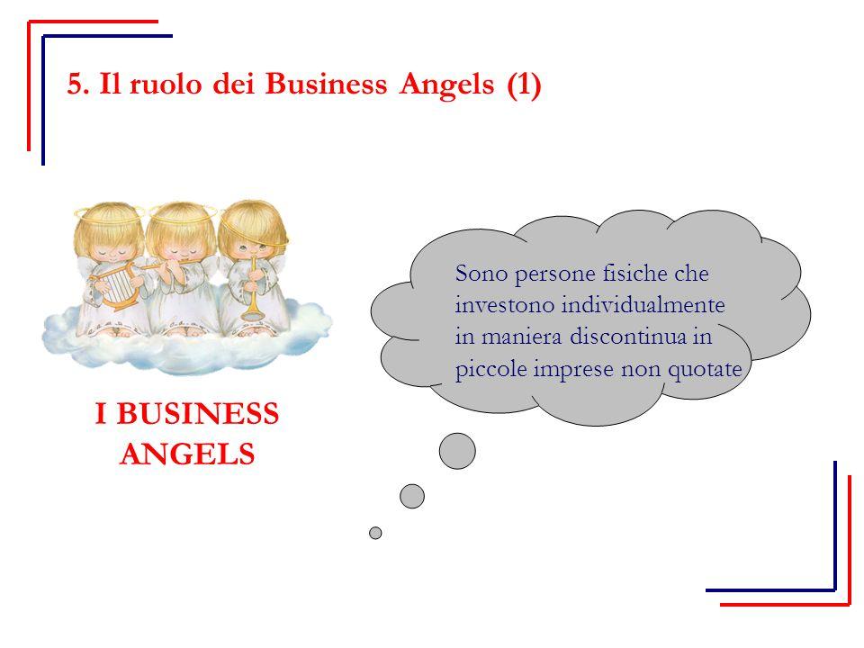 I BUSINESS ANGELS Sono persone fisiche che investono individualmente in maniera discontinua in piccole imprese non quotate 5. Il ruolo dei Business An