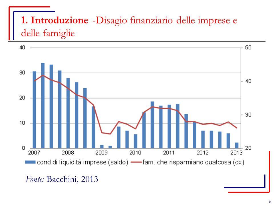 1. Introduzione -Disagio finanziario delle imprese e delle famiglie 6 Fonte: Bacchini, 2013