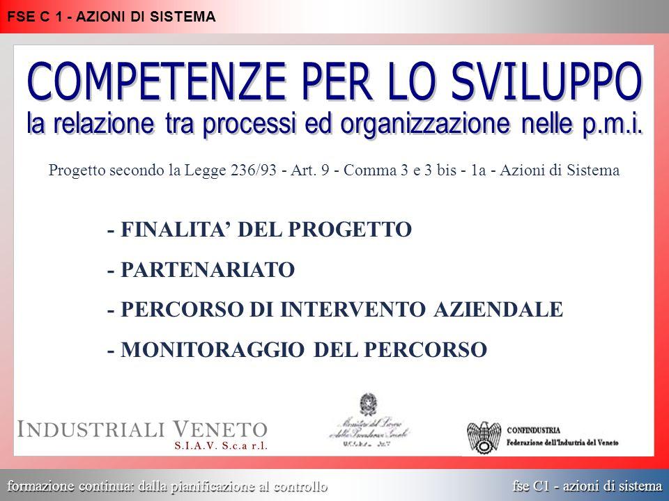 formazione continua: dalla pianificazione al controllo fse C1 - azioni di sistema FSE C 1 - AZIONI DI SISTEMA Progetto secondo la Legge 236/93 - Art.