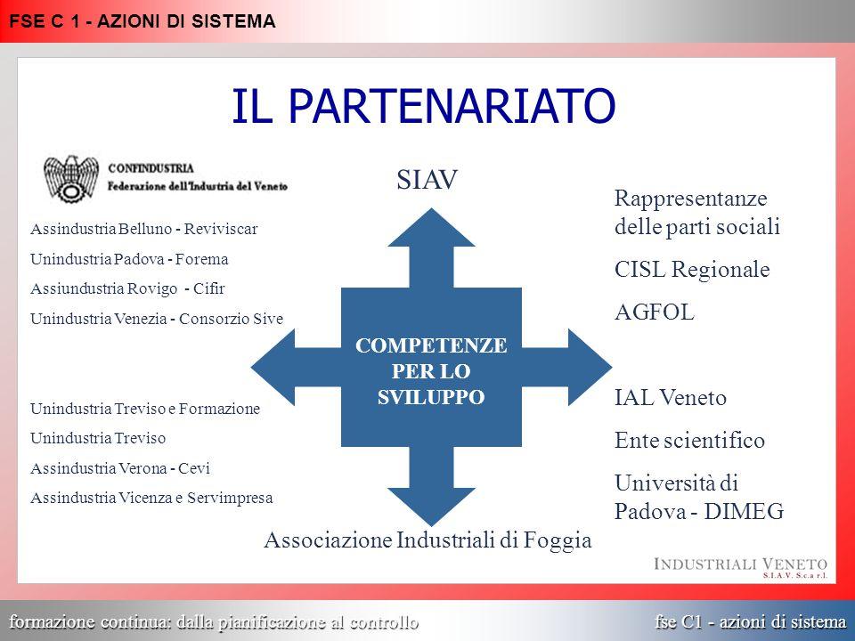 formazione continua: dalla pianificazione al controllo fse C1 - azioni di sistema FSE C 1 - AZIONI DI SISTEMA Assindustria Belluno - Reviviscar Unindu