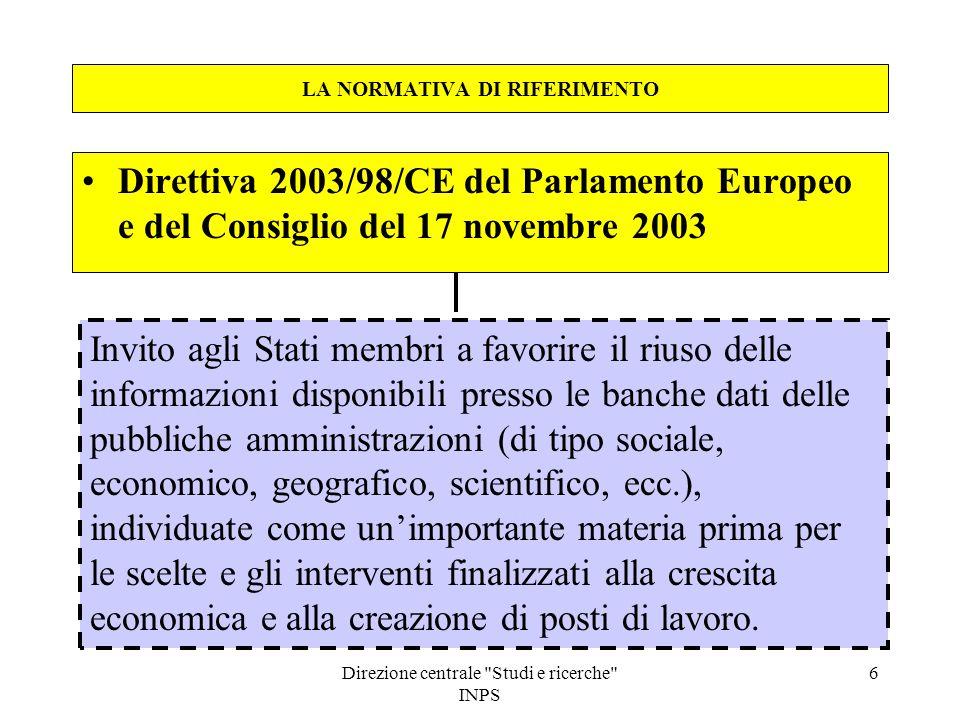 Direzione centrale Studi e ricerche INPS 7 LA NORMATIVA DI RIFERIMENTO Decreto legislativo 24 gennaio 2006, n.
