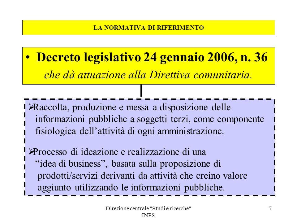 Direzione centrale Studi e ricerche INPS 8 LA NORMATIVA DI RIFERIMENTO Decreto legislativo 24 gennaio 2006, n.