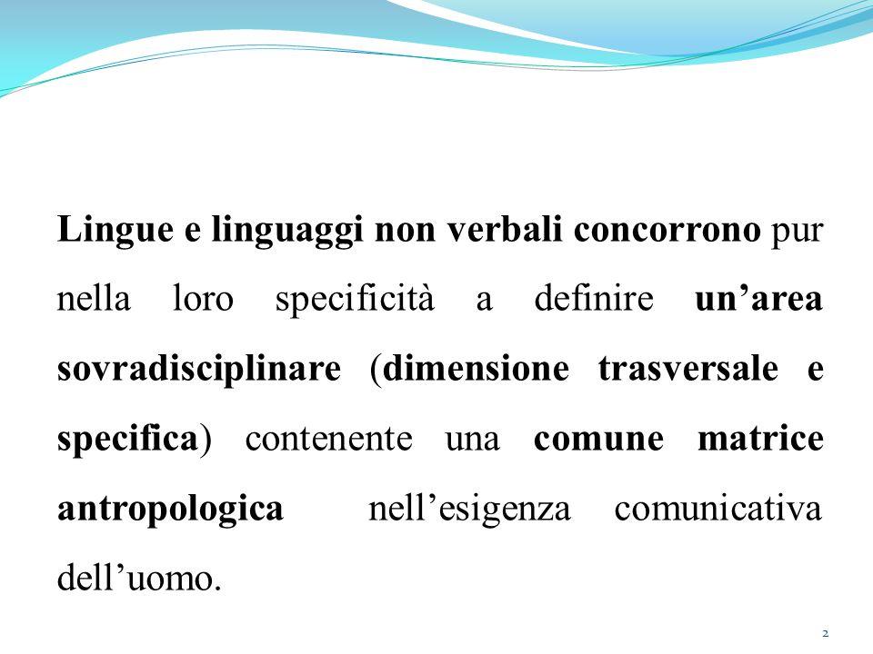 2 Lingue e linguaggi non verbali concorrono pur nella loro specificità a definire un'area sovradisciplinare (dimensione trasversale e specifica) contenente una comune matrice antropologica nell'esigenza comunicativa dell'uomo.