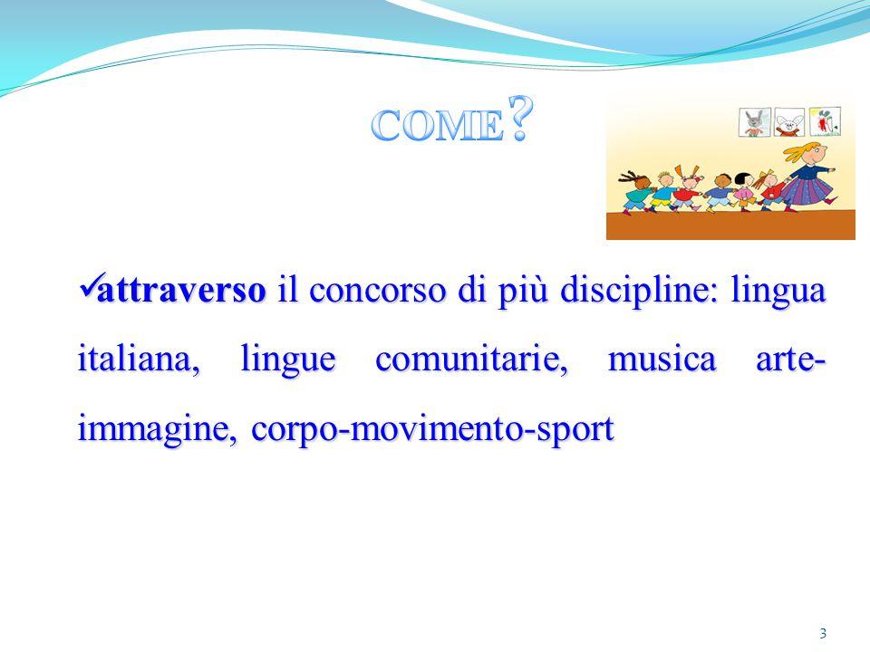 3 attraverso il concorso di più discipline: lingua italiana, lingue comunitarie, musica arte- immagine, corpo-movimento-sport attraverso il concorso d