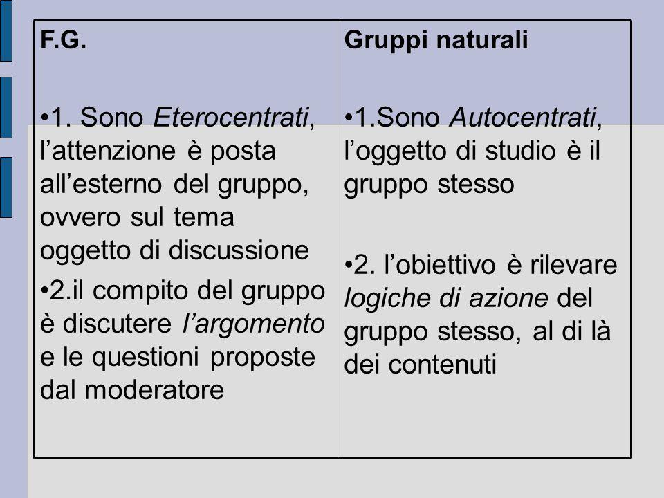 Gruppi naturali 1.Sono Autocentrati, l'oggetto di studio è il gruppo stesso 2. l'obiettivo è rilevare logiche di azione del gruppo stesso, al di là de