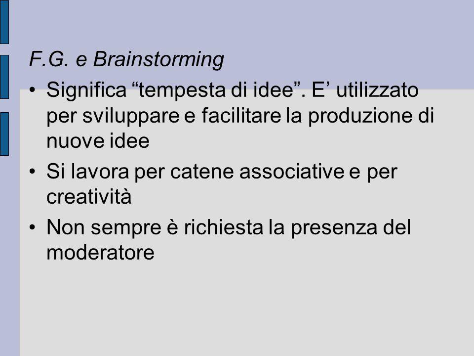 """F.G. e Brainstorming Significa """"tempesta di idee"""". E' utilizzato per sviluppare e facilitare la produzione di nuove idee Si lavora per catene associat"""