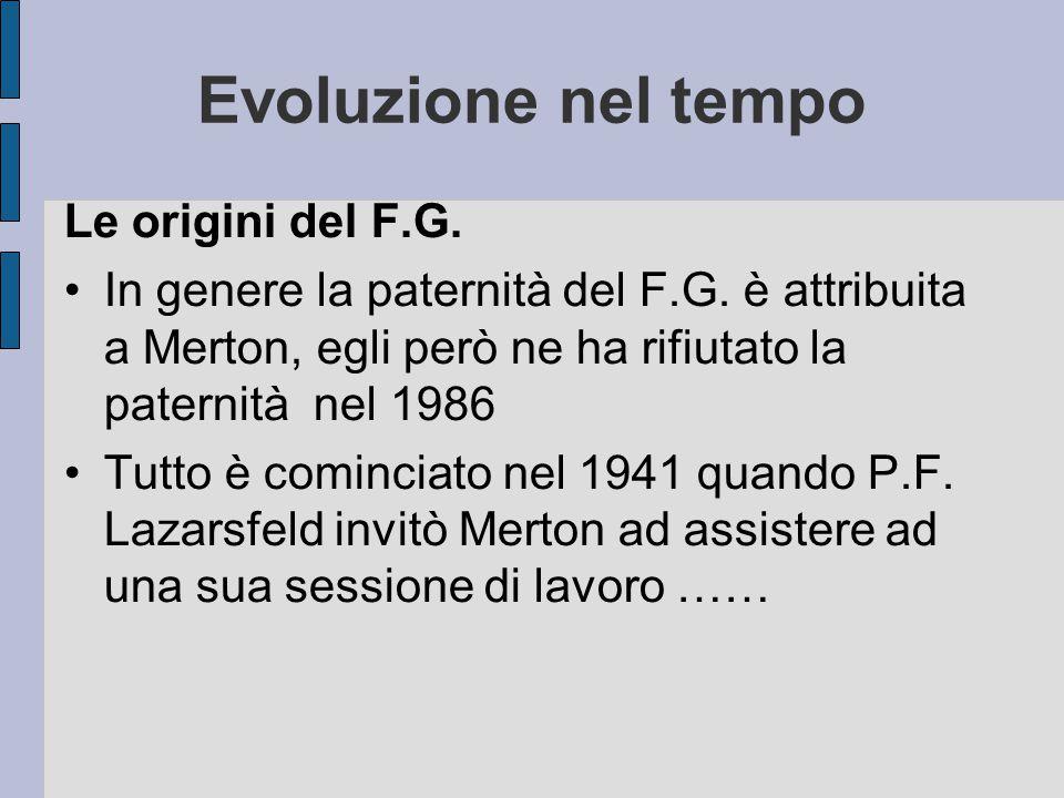 Evoluzione nel tempo Le origini del F.G. In genere la paternità del F.G. è attribuita a Merton, egli però ne ha rifiutato la paternità nel 1986 Tutto