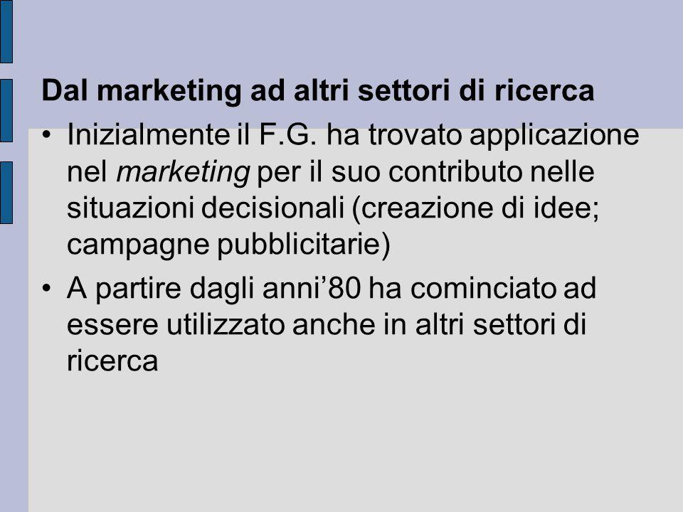 Dal marketing ad altri settori di ricerca Inizialmente il F.G. ha trovato applicazione nel marketing per il suo contributo nelle situazioni decisional