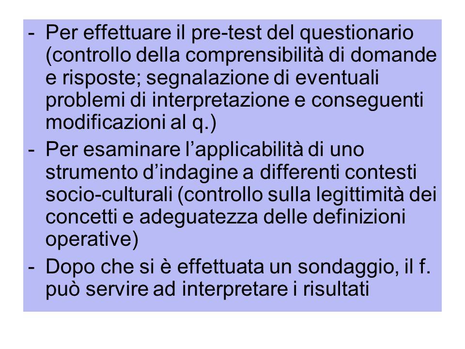 -Per effettuare il pre-test del questionario (controllo della comprensibilità di domande e risposte; segnalazione di eventuali problemi di interpretaz