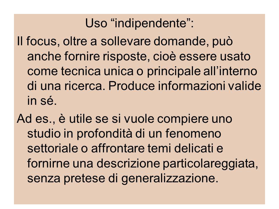Uso indipendente : Il focus, oltre a sollevare domande, può anche fornire risposte, cioè essere usato come tecnica unica o principale all'interno di una ricerca.