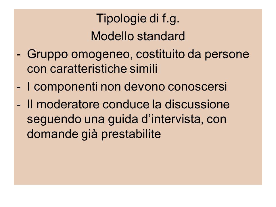 Tipologie di f.g. Modello standard -Gruppo omogeneo, costituito da persone con caratteristiche simili -I componenti non devono conoscersi -Il moderato