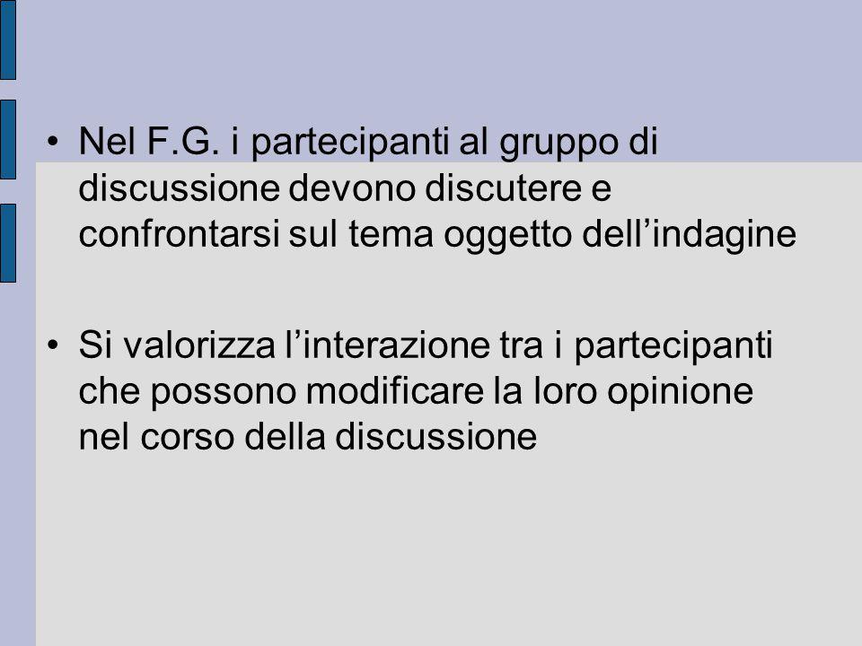 Nel F.G. i partecipanti al gruppo di discussione devono discutere e confrontarsi sul tema oggetto dell'indagine Si valorizza l'interazione tra i parte
