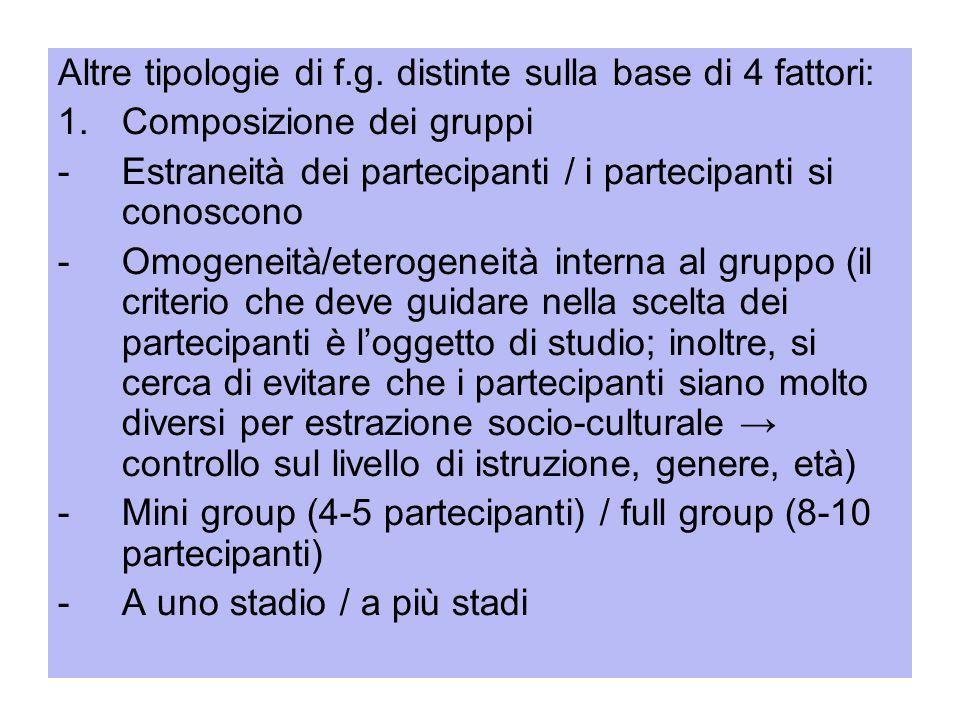 Altre tipologie di f.g. distinte sulla base di 4 fattori: 1.Composizione dei gruppi -Estraneità dei partecipanti / i partecipanti si conoscono -Omogen
