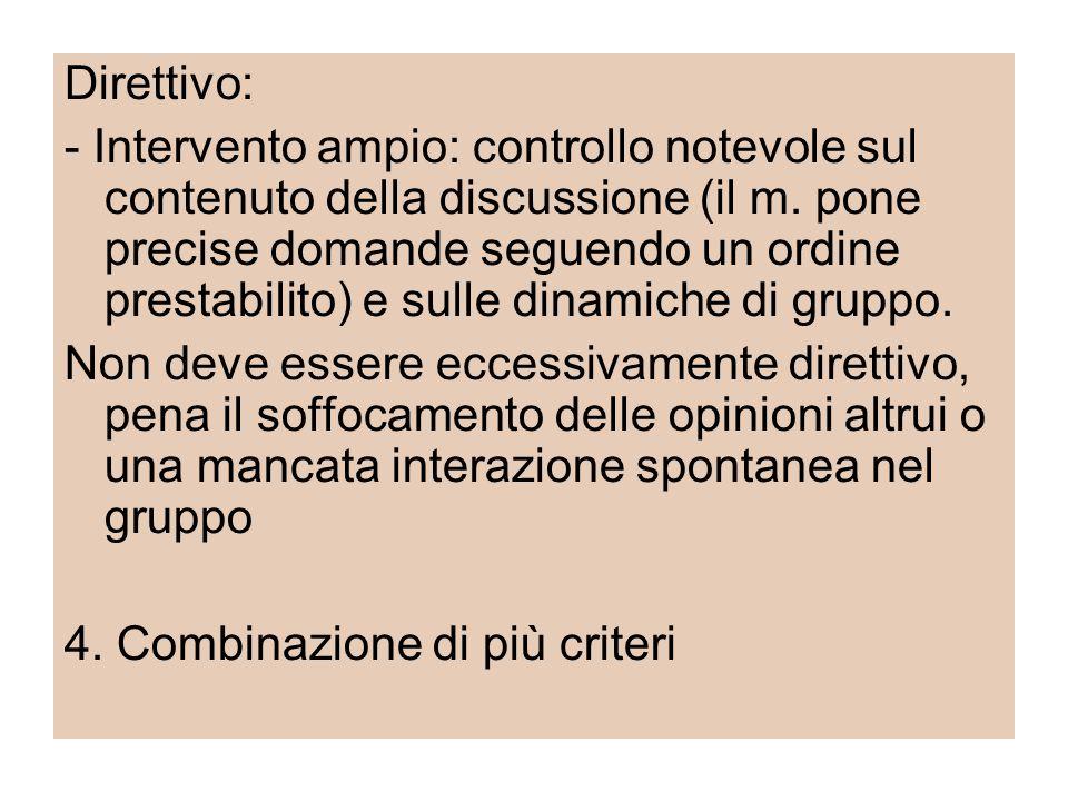 Direttivo: - Intervento ampio: controllo notevole sul contenuto della discussione (il m. pone precise domande seguendo un ordine prestabilito) e sulle