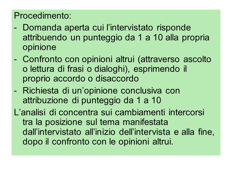 Procedimento: -Domanda aperta cui l'intervistato risponde attribuendo un punteggio da 1 a 10 alla propria opinione -Confronto con opinioni altrui (att