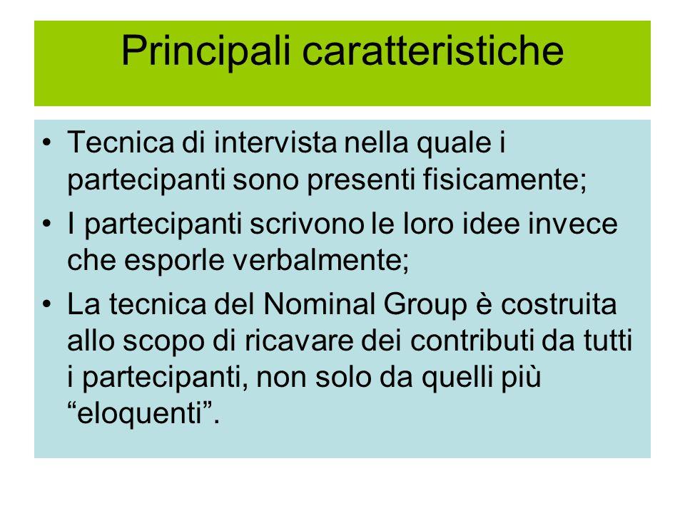 Principali caratteristiche Tecnica di intervista nella quale i partecipanti sono presenti fisicamente; I partecipanti scrivono le loro idee invece che