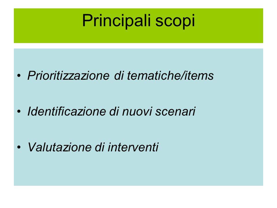 Principali scopi Prioritizzazione di tematiche/items Identificazione di nuovi scenari Valutazione di interventi