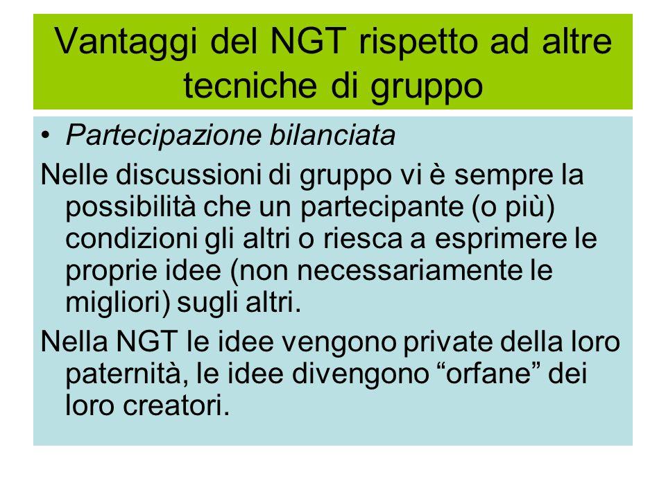 Vantaggi del NGT rispetto ad altre tecniche di gruppo Partecipazione bilanciata Nelle discussioni di gruppo vi è sempre la possibilità che un partecip