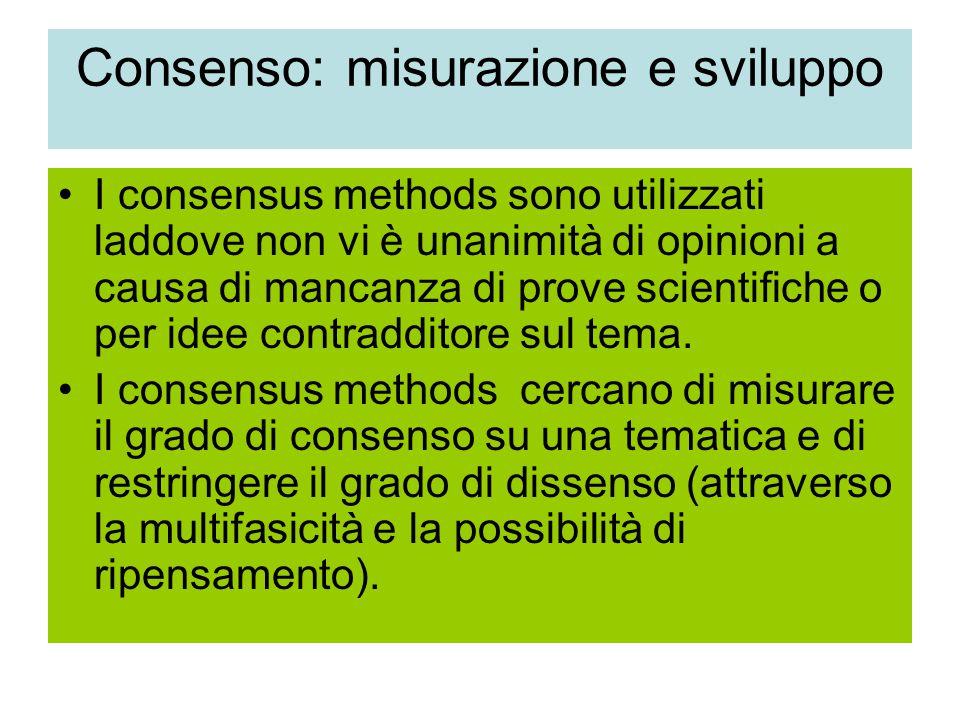 Consenso: misurazione e sviluppo I consensus methods sono utilizzati laddove non vi è unanimità di opinioni a causa di mancanza di prove scientifiche o per idee contradditore sul tema.