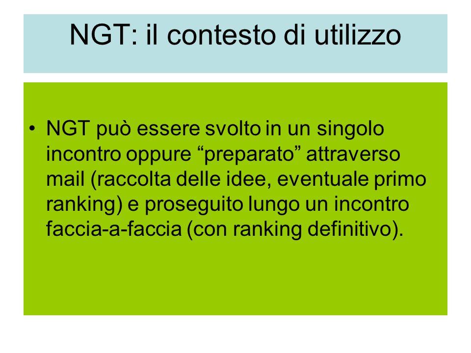 NGT: il contesto di utilizzo NGT può essere svolto in un singolo incontro oppure preparato attraverso mail (raccolta delle idee, eventuale primo ranking) e proseguito lungo un incontro faccia-a-faccia (con ranking definitivo).