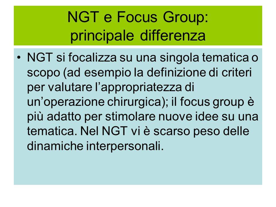 NGT e Focus Group: principale differenza NGT si focalizza su una singola tematica o scopo (ad esempio la definizione di criteri per valutare l'appropriatezza di un'operazione chirurgica); il focus group è più adatto per stimolare nuove idee su una tematica.