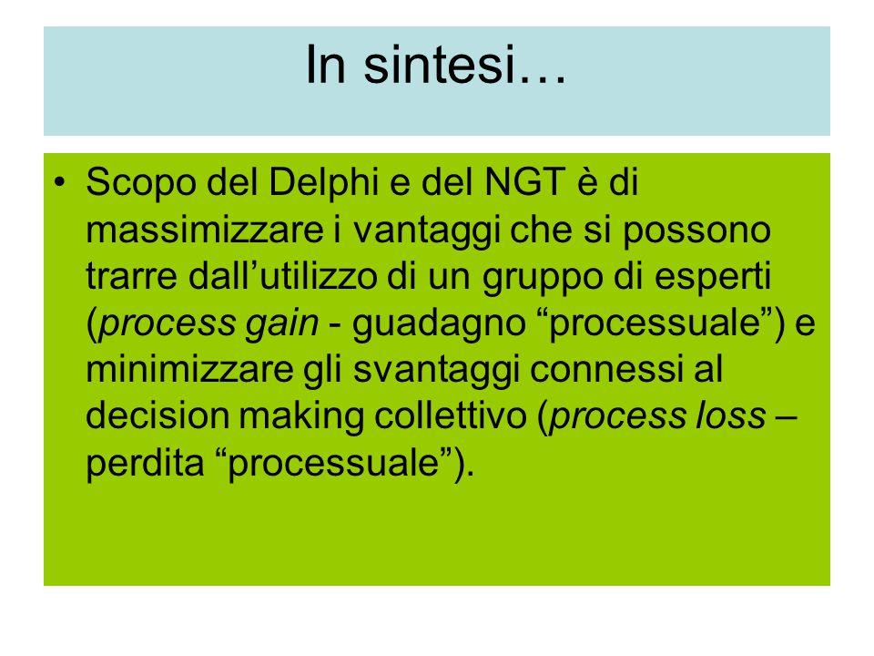 In sintesi… Scopo del Delphi e del NGT è di massimizzare i vantaggi che si possono trarre dall'utilizzo di un gruppo di esperti (process gain - guadagno processuale ) e minimizzare gli svantaggi connessi al decision making collettivo (process loss – perdita processuale ).