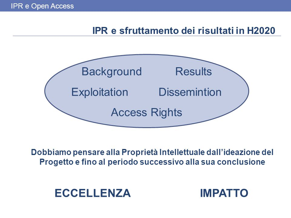 IPR e Open Access Maria Carmela Basile CNR – SPR Valorizzazione della Ricerca mariacarmela.basile@cnr.it Fact Sheet IP Management in Horizon 2020: at the implementation stage Open Access to publications and data in Horizon 2020: FAQ Exploitation channels for public reaserch results Commercializing Intellectual Property: -Franchising -Knowledge Transfer ools -Assignment Agreement -Internal Product Development -Spin-offs -Joint Ventures -Licence Agreements