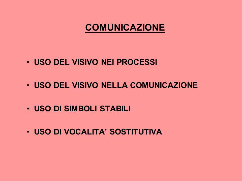 COMUNICAZIONE USO DEL VISIVO NEI PROCESSI USO DEL VISIVO NELLA COMUNICAZIONE USO DI SIMBOLI STABILI USO DI VOCALITA' SOSTITUTIVA