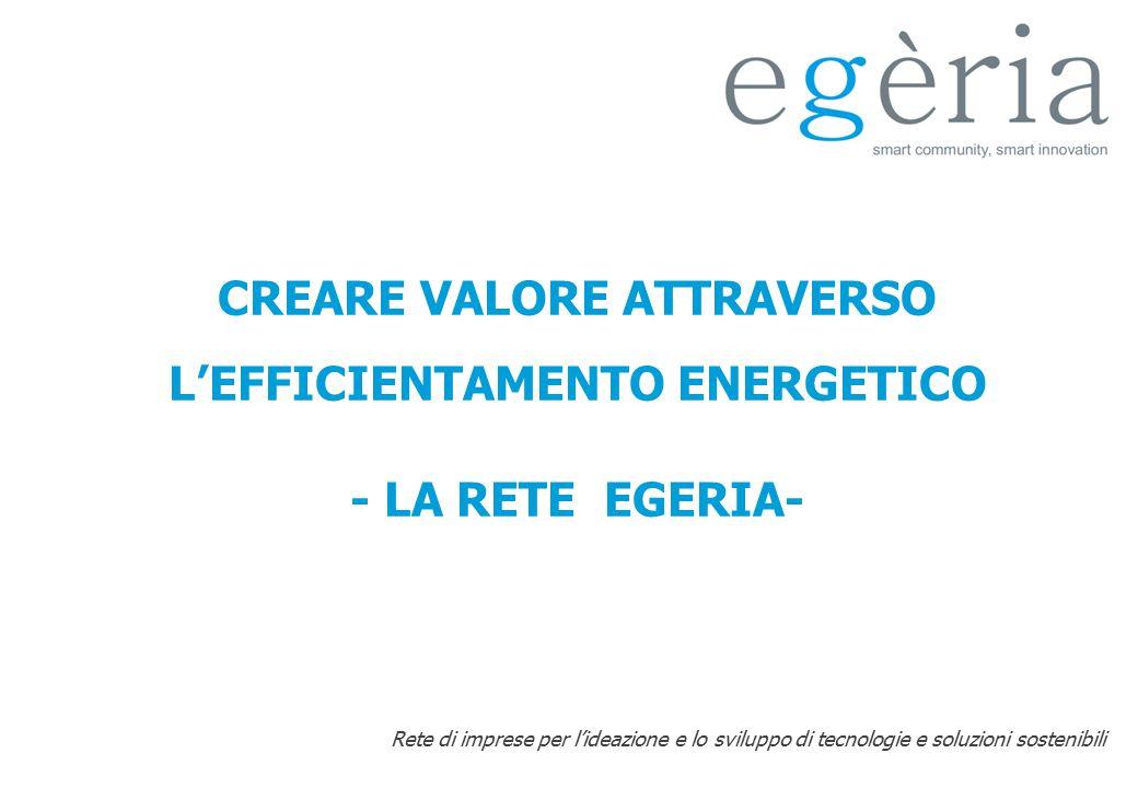 Rete di imprese per l'ideazione e lo sviluppo di tecnologie e soluzioni sostenibili CREARE VALORE ATTRAVERSO L'EFFICIENTAMENTO ENERGETICO - LA RETE EG