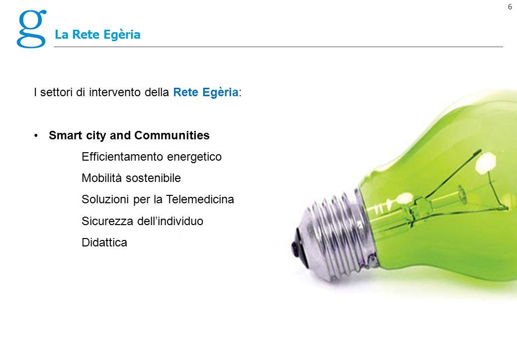 6 La Rete Egèria I settori di intervento della Rete Egèria: Smart city and Communities Efficientamento energetico Mobilità sostenibile Soluzioni per l