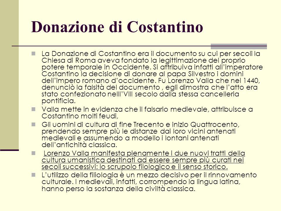 Donazione di Costantino La Donazione di Costantino era il documento su cui per secoli la Chiesa di Roma aveva fondato la legittimazione del proprio po