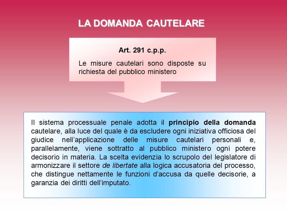 LA DOMANDA CAUTELARE Art. 291 c.p.p. Le misure cautelari sono disposte su richiesta del pubblico ministero Il sistema processuale penale adotta il pri