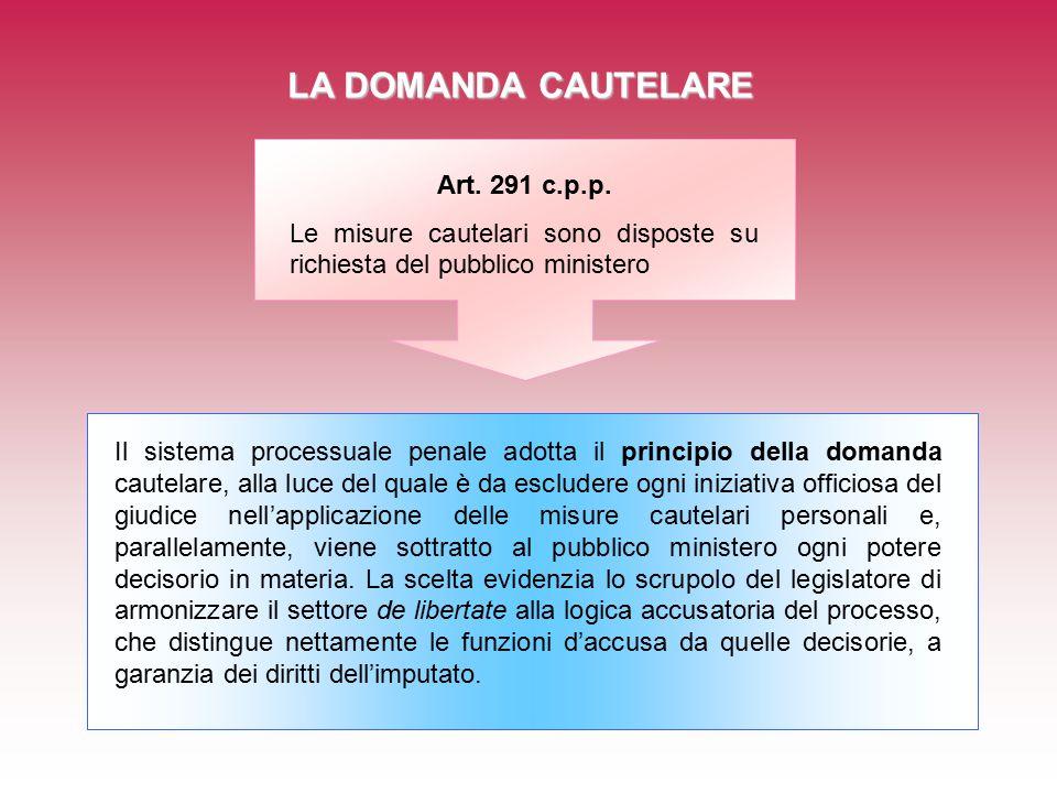 LA DOMANDA CAUTELARE Art.291 c.p.p.